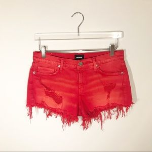 "Hudson ""Kenzie"" Cutoff Red Denim Shorts"